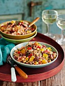 Couscous salad with chickpeas, beetroot and peppers