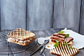 Grilled sandwiches with tuna and duck breast