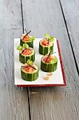 Cucumber filled with tuna