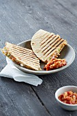 Grilled quesadillas filled with lentils (Mexico)