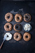 Spelt bagels with white and black sesame and fresh cheese