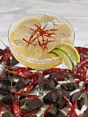 A margarita cocktail with chocolate and chillies