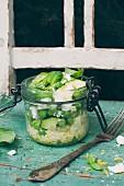 A millet salad with zucchini, peas, lemon zest, feta and a garlic vinaigrette