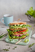 A multi layered spring salad sandwich