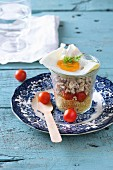 Quinoa salad with cherry tomatoes and fried egg