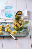 Zucchini and polenta salad in a glass
