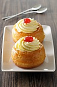 Rum baba (Rum soaked yeast cake, France)