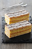 Mille feuilles filled with vanilla cream (puff pastry desserts, France)