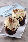 Chocolate cupcakes with almonds and nuts