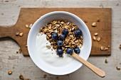 Joghurt mit Granola und Blaubeeren