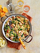 Paella with shrimps and vegetables