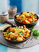 Saffron rice with giant prawns and vegetables