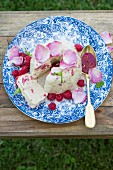 Yogurt Semifreddo with raspberries and rose water