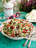 Summer rice salad with kidney beans, black eyed beans and peppers