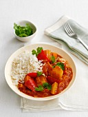 Vegetable curry with rice (Asia)