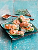 Vietnamese summer rolls with shrimps and glass noodles (Asia)