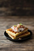 Savoury waffles with North Sea shrimps