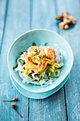 Shirataki noodles with shrimps and Kenya beans