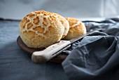 Freshly baked vegan 'tijgerbolletjes' (tiger bread rolls, Netherlands)