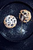 Vegan blueberry cakes with powdered sugar