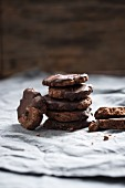 Vegan chocolate chip cookies with a dark chocolate and nougat glaze