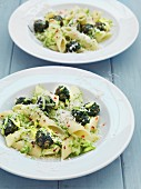 Penne with spinach and grated Parmesan