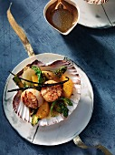 Scallops with asparagus and orange dressing