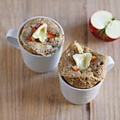 Savoury mug cakes with camembert, apple and honey