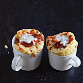 Savoury mug cakes with chorizo, red pepper and cream cheese