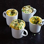 Savoury mug cakes with peas and mint