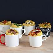 Various savoury mug cakes