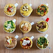 Nine different savoury mug cakes (seen from above)