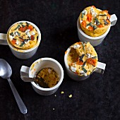 Savoury mug cakes with pumpkin, sage and ricotta