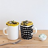 Savoury mug cakes with sardines, onion and olives