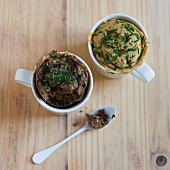 Savoury mug cakes with tapenade