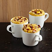 Savoury mug cakes with tomato, chicken and herbs