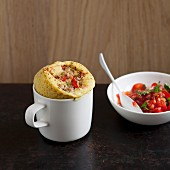 Savoury mug cakes with tuna, tomato and olives
