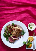 Sesame and chilli seared tuna with slaw and lime mayo