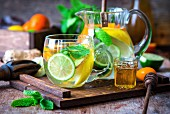 Citrus water with mint, ginger and honey