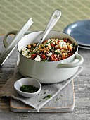 Pilau with chickpeas and feta