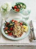 Hähnchenbrust mit Zitrone, Knoblauch, Rosmarin und Kartoffelsalat