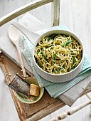 Linguine with pesto and parmesan