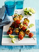 Piri piri chicken skewers with cherry tomatoes and courgette