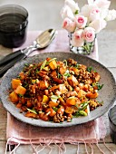 Warm lentil and squash salad