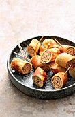 Crêpe rolls with creamy smoked fish filling
