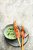 Cold cucumber and yoghurt soup with gravlax grissini