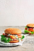 Salmon burgers with cucumber and chive remoulade
