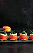 Mini rosti with smoked salmon tartare, crème fraîche and caviar