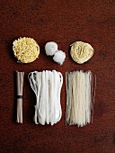 Various types of noodle from Asia (seen from above)