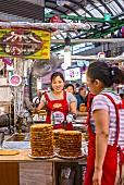 A snack stall on Gwangjang market in Seoul, South Korea